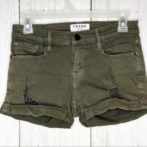 Frame Le Cutoff Olive Green Distressed Sho…